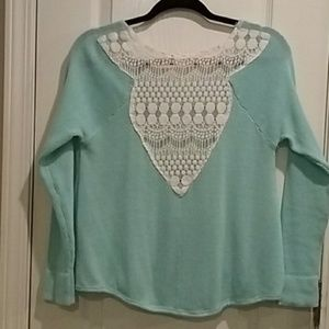 Blue High-low sweater with crochet back